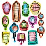 Aziatische het document van de vakantiehand getrokken krabbel lantaarns Stock Afbeelding