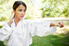 Aziatische het praktizeren karate Royalty-vrije Stock Afbeeldingen