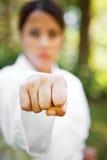 Aziatische het praktizeren karate stock foto