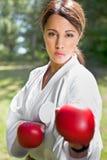 Aziatische het praktizeren karate stock fotografie