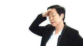 Aziatische hogere manager bedrijfs verstoorde vrouw en ongelukkig abstract l stock afbeelding