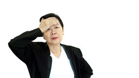 Aziatische hogere manager bedrijfs verstoorde vrouw en ongelukkig abstract l royalty-vrije stock afbeelding