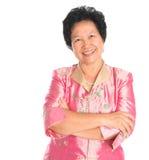 Aziatische hogere vrouw. Stock Afbeelding