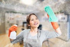 Aziatische huisvrouw stock afbeeldingen