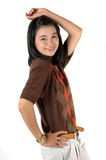 Aziatische jonge studentglimlach die steunen draagt Royalty-vrije Stock Fotografie