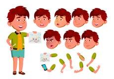 Aziatische Jongen, Kind, Jong geitje, Tienervector leisure Onderwijs, Studie Gezichtsemoties, Diverse Gebaren De Reeks van de ani stock illustratie