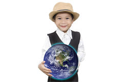 Aziatische jongen met de bol van D op de Elementen van het handhologram van dit beeld a Stock Foto