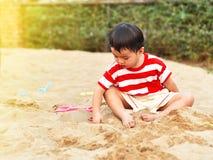 Aziatische jongen in speelplaats stock afbeelding