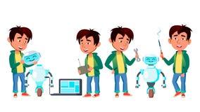 Aziatische Jongens Vastgestelde Vector Lage school studie Bouw Robothelper De kennis, leert Elektronika voor reclame stock illustratie