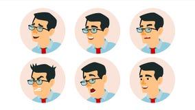 Aziatische Karakter Bedrijfsmensenavatar Vector Aziatisch Mensengezicht, Geplaatste Emoties Creatieve Avatar Placeholder beeldver vector illustratie