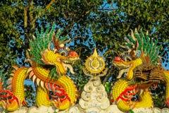 Aziatische kleurrijke gele draak in de Chinese tempel, de godsdienst van China stock fotografie