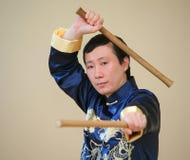 Aziatische kung-fuvechter stock foto