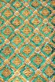 Aziatische kunst, smaragdgroene en gouden muur stock fotografie