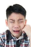 Aziatische leuke droevig en jongen die schreeuwen Royalty-vrije Stock Fotografie