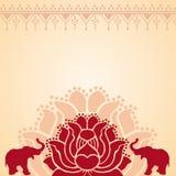 Aziatische lotusbloem en olifantsachtergrond Royalty-vrije Stock Afbeelding