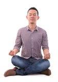 Aziatische meditatiemens Stock Foto