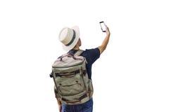 Aziatische mens die backpacker reizen royalty-vrije stock fotografie