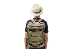 Aziatische mens die backpacker reizen royalty-vrije stock foto