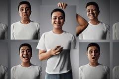 Aziatische mens met verschillende emotie stock afbeeldingen