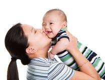 Aziatische moeder en zoon Stock Afbeelding