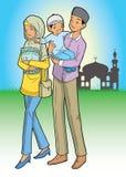 Aziatische moslimfamilie en moskee Stock Afbeelding