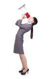 Aziatische onderneemster die megafoon gebruiken Stock Foto