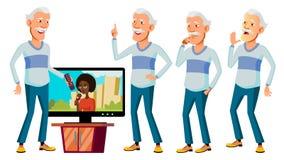 Aziatische Oude Mensen Vastgestelde Vector Bejaarde mensen Hogere persoon oud Mooie Gepensioneerde life Kaart, Reclame, het Begro royalty-vrije illustratie