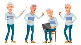 Aziatische Oude Mensen Vastgestelde Vector Grijs haar Bejaarde mensen Hogere persoon oud Grappige Gepensioneerde leisure prentbri vector illustratie