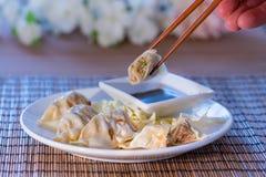 Aziatische Potsticker-Bollen met saus royalty-vrije stock foto's
