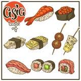 Aziatische reeks, vectorinzameling van het Japanse voedsel van de krabbelschets, sus stock illustratie