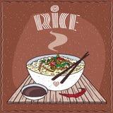 Aziatische rijst Dal bhat of kandar Nasi en groenten royalty-vrije illustratie
