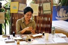 Aziatische Schilder in Actie Royalty-vrije Stock Fotografie