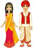 Aziatische schoonheid Animatie Indische familie in traditionele kleren stock illustratie