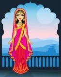 Aziatische schoonheid Animatieportret van het jonge Indische meisje in traditionele kleren Sprookjeprinses vector illustratie