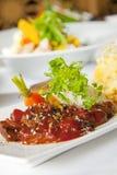 Aziatische schotel met rundvlees, noedels en groenten Royalty-vrije Stock Fotografie