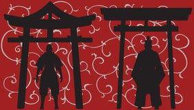 Aziatische silhouetten. Stock Afbeeldingen