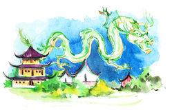 Aziatische stad stock illustratie
