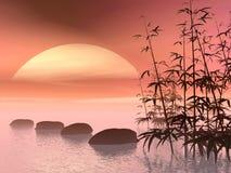 Aziatische stappen aan de 3D zon - geef terug Royalty-vrije Stock Fotografie