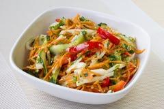 Aziatische stijlsalade met verse groenten en kruidige vulling stock afbeelding