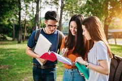 Aziatische student in het park Stock Afbeeldingen