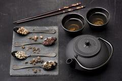 Aziatische theestel Groene thee Royalty-vrije Stock Afbeelding