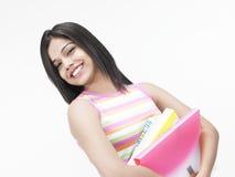 Aziatische tiener met dossiers Stock Foto's