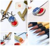 Aziatische traditionele borstelpen en inkt Royalty-vrije Stock Foto