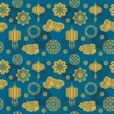 Aziatische vectordecoratie Chinees en Japans motief naadloos patroon voor zijdetextiel stock illustratie