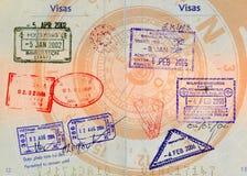 Aziatische visa op kompasbackgro royalty-vrije stock afbeelding