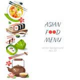 Aziatische voedsel achtergrond verticale menuschotels Chinees traditioneel c stock illustratie