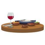 Aziatische voedsel en wijn Royalty-vrije Stock Afbeeldingen