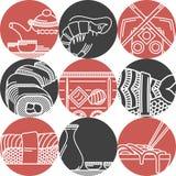 Aziatische voedsel zwarte en rode pictogrammen Stock Foto