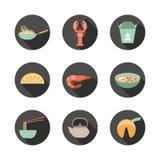 Aziatische voedselpictogrammen Stock Afbeelding