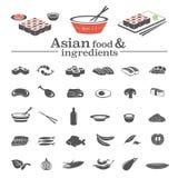 Aziatische voedselpictogrammen & ingrediënten Stock Fotografie